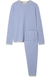 Sleepy Jones Brigitte Striped Cotton Jersey Pajama Set Blue