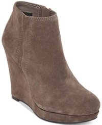 Jessica Simpson Calwell Platform Wedge Booties Women's Shoes Tile Grey Suede