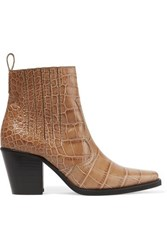 Ganni Callie Croc Effect Leather Ankle Boots Taupe