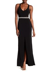 City Triangles Sleeveless Embellished Gown Black
