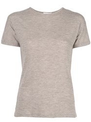 The Row Shortsleeved Fine Knit Top Grey