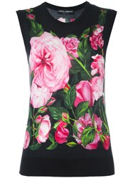 Dolce And Gabbana Rose Print Tank Top Black