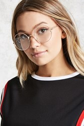 Forever 21 Metal Round Readers Gold Clear