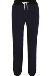 Monrow Woman Striped Washed Crepe Track Pants Midnight Blue