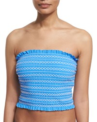 Tory Burch Costa Shirred Bandeau Tankini Swim Top Women's Size Large Blue Dusk White