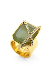 Louise Et Cie Stone And Crystal Ring Gold Seagreen Crystal