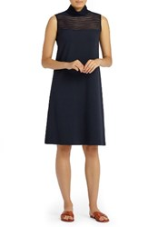 Lafayette 148 New York Women's Mesh Stripe Punto Milano Dress