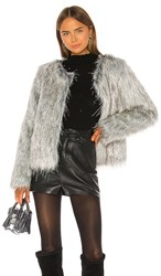 Unreal Fur Fire And Ice Jacket In Gray. Grey And Silver