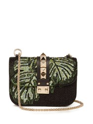 Valentino Lock Small Bead Embellished Shoulder Bag Black Green