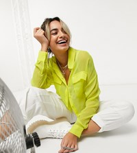 Noisy May Petite Crop Shirt In Neon Yellow