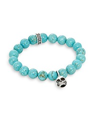 King Baby Studio Turquoise And Sterling Silver Beaded Skull Charm Bracelet