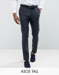 Asos Tall Wedding Skinny Suit Trouser In Blue Micro Woven Texture Navy