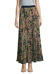 Bcbgmaxazria Esten Accordion Pleated Floral Skirt Dark Midnight