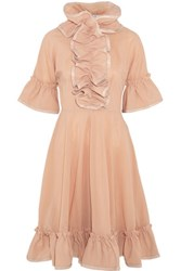 J.W.Anderson Leather Trimmed Ruffled Mesh Dress Blush