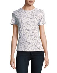 Lord And Taylor Petite Printed Short Sleeve Tee White
