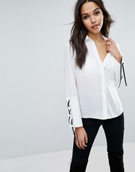 Asos Blouse With Contrast Lace Up Cuff Ivory Black White