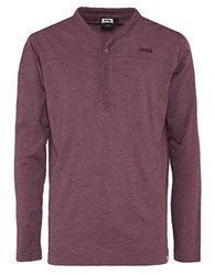 Jeep Long Sleeve Henley Top Red