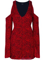 Amiri Leopard Print Dress Silk Spandex Elastane Red