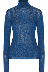 Missoni Metallic Crochet Knit Turtleneck Sweater Blue