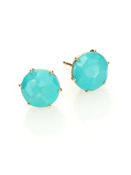 Ippolita Rock Candy Turquoise And 18K Yellow Gold Stud Earrings Gold Blue