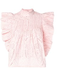 Ganni Embroidered Anglaise Blouse Pink