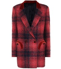 Blaze Milano Hickstead Checked Boucle Blazer Red