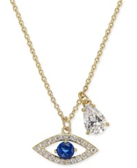 Danori 18K Gold Plated Pave Evil Eye And Crystal Teardrop Pendant Necklace 16 2 Extender Created For Macy's Clear