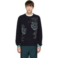 Kenzo Navy Limited Edition Holiday Double Tiger Sweater