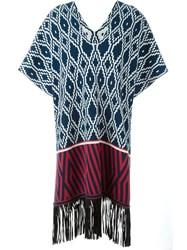 Antonia Zander 'Marrakech' Fringed Knit Kaftan Blue