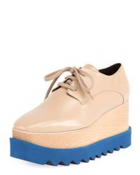 Stella Mccartney Elyse Brogue Faux Leather Platform Oxford Nude Blue