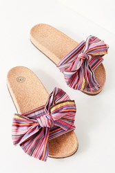 Urban Outfitters Uo Striped Bow Pool Slide Multi