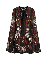 Erdem Flo Floral Embroidered Silk Organza Cape Black Multi