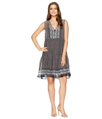 Dylan By True Grit Alessandra Sheer Rayon With Metallic Button Front Dress With Lining Black