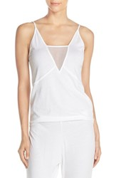Women's Skin 'Roslyn' Tulle Inset Cotton Camisole White