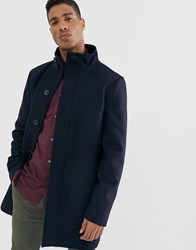 French Connection Wool Blend Funnel Neck Coat Navy