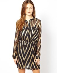 Aryn K Long Sleeve Dress Black Gold Multi