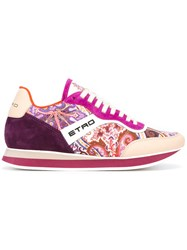 Etro Multiple Prints Lace Up Sneakers Pink Purple