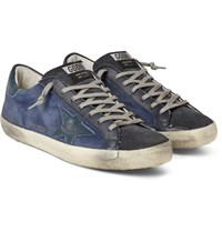 Golden Goose Superstar Distressed Denim Leather And Suede Sneakers Storm Blue