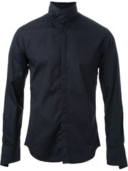 Strateas Carlucci Wrap Collar Shirt Black