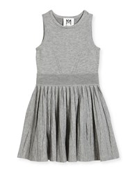 Milly Minis Knit Pleated Flare Dress Size 8 14 Gray