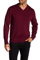 Tailorbyrd V Neck Wool Sweater Red