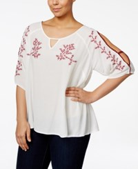 American Rag Plus Size Embroidered Peasant Top Only At Macy's Egret