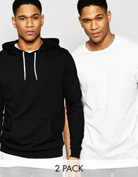 Asos Hoodie And Longline T Shirt 2 Pack Black White Save 15 Multi