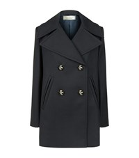 Nina Ricci Bird Button Pea Coat Female Blue