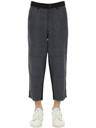 Comme Des Garcons Wool Houndstooth And Carded Wool Pants Black