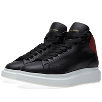 Alexander Mcqueen Oversized Sole Mid Top Sneaker Black And Red