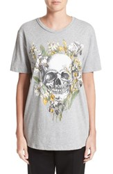 Alexander Mcqueen Women's Skull And Iris Graphic Tee Grey Melange