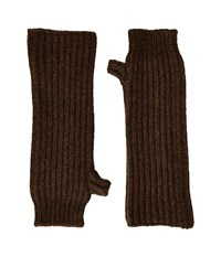 Marni Zip Detailed Wool English Rib Fingerless Mitten Brown