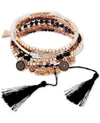Guess Gold Tone 5 Pc. Set Multi Bead Charm And Tassel Slider And Stretch Bracelets Gold Black