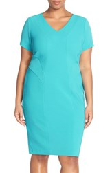 Plus Size Women's Sejour Short Sleeve Ottoman Rib Sheath Dress Teal Plumage